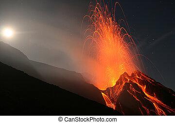 Stromboli at night - Full moon eruption of volcano stromboli...