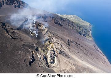 Stromboli volcano, aerial view