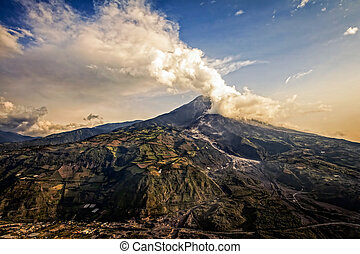 Strombolian Activity At Sunset Of Tungurahua Volcano -...