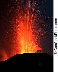 Strombolian eruption at volcano