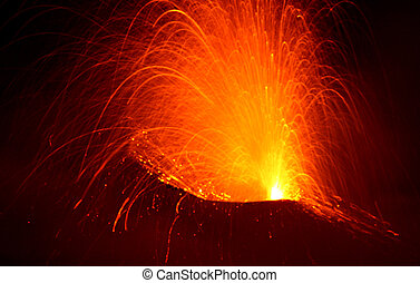 Strombolian eruption - close view in the crater