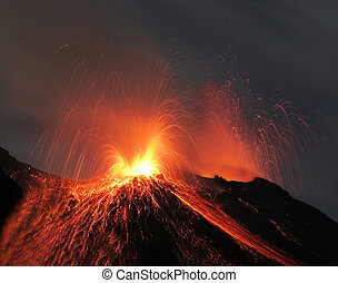 Strombolian eruption volcano - Strombolian eruption at...