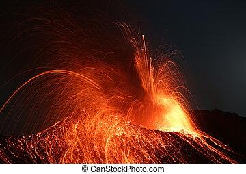 Strombolian eruption volcano Stromboli erupting - Strong...