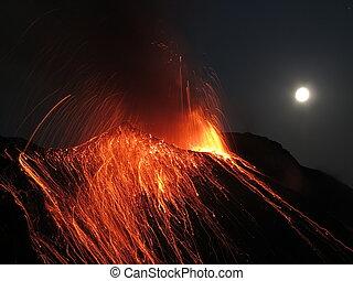 Strombolian eruption volcano Stromboli
