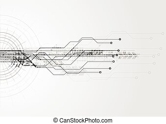 stromkreis, high-tech-, brett, hintergrund, grau