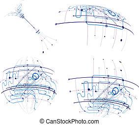 stromkreis, vektor, abstrakt, satz