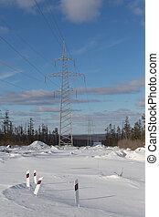stromleitungen, in, winter
