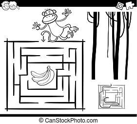 strona, małpa, zdezorientować, kolorowanie