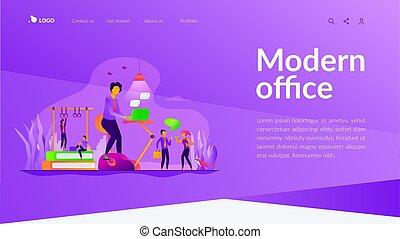 strona, workspace, lądowanie, szablon, fitness-focused