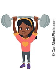 Strong african girl lifting heavy weight barbell.