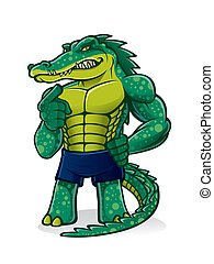 cartoon alligator that pugnacious, strong and muscular is challenging and pointed toward the audience invited to join him