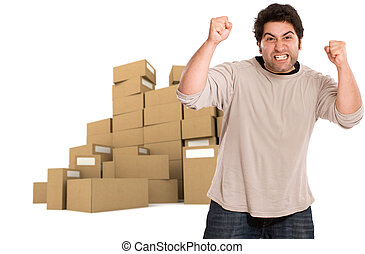 Strong angry man and piles of boxes