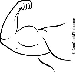 Strong arm icon. Line art. - Strong arm icon. Bodybuilder...