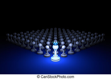 Strong army (chess metaphor). 3D rendering illustration. Free space for text.