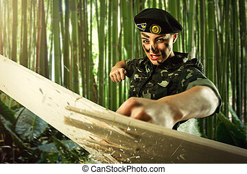 Strong army soldier woman is practicing