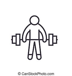 Strong athlete, lifting weights flat line illustration, concept vector isolated icon on white background