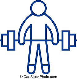 Strong athlete, lifting weights line icon concept. Strong athlete, lifting weights flat  vector symbol, sign, outline illustration.