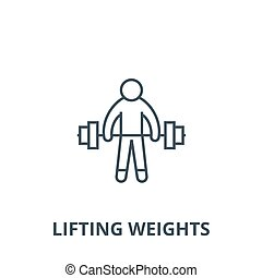 Strong athlete, lifting weights vector line icon, linear concept, outline sign, symbol