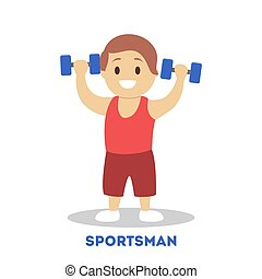 Strong athletic child with dumbbell. Kid sportsman