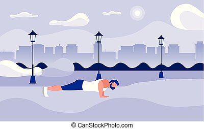 strong athletic man doing push-ups in the park