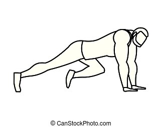 strong athletic man doing push-ups