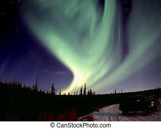 One of the nice and powerful aurora displays near Fairbanks, AK, November 2005 120 format slide scan (Provia 400F).