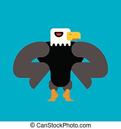 Strong bald eagle isolated. Great powerful bird. Vector illustration.