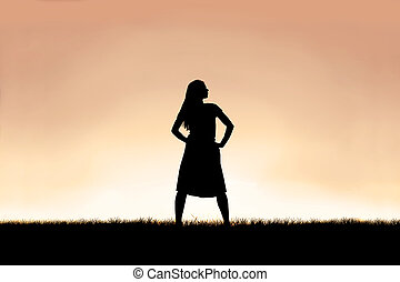 Strong Beautiful Woman Silhouette Isolated Against Sunset Sky Background