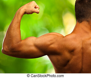 strong biceps on a nature background