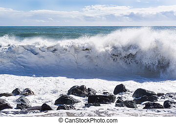 Strong big waves of the black sea