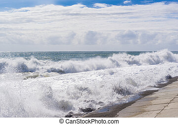 Strong big waves of the sea