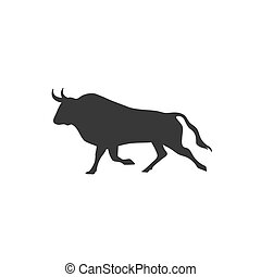Strong black bull design icon template logo vector