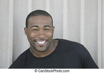 strong black guy headshot - closeup headshot portrait of one...