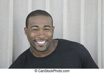 strong black guy headshot - closeup headshot portrait of one...