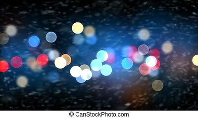 Strong Blizzard Snow Storm Gale Force on Night Lights Blinking Background. Looped 3d Animation. Holidays Celebration Concept. 4k Ultra HD 3840x2160.