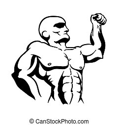 strong bodybuilder silhouette icon vector illustration...