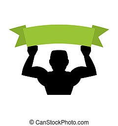 strong bodybuilder silhouette lifting ribbon vector...