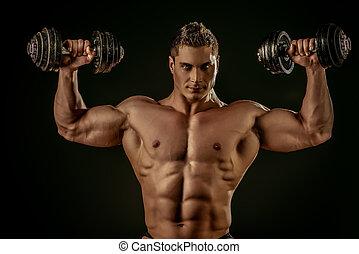 strong boy - Portrait of a handsome muscular bodybuilder...