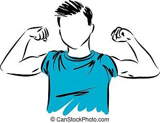 strong boy vector illustration