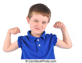 Strong Boy with Tough Muscle - A young boy has his muscles...
