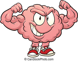 Cartoon strong brain. Vector clip art illustration with simple gradients. All in a single layer.