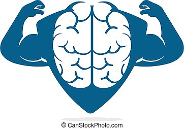 Strong brain vector logo design. Brain, intellect power. ...