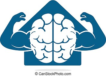 Strong brain vector logo design. - Brain with big muscles ...