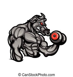 Strong bull - a strong angry bull with a barbell