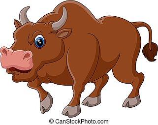 Strong bull cartoon