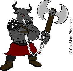 strong bull gladiator warrior cartoon