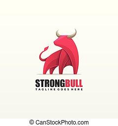 Strong Bull illustration Vector Template