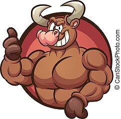 Strong bull - Strong cartoon bull with thumbs up coming out...