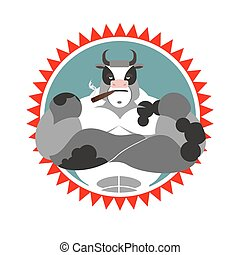 Strong Bull with glasses and with a cigar. Logo for Sports Club. Farm animal with big muscles. Logo of wild cow.