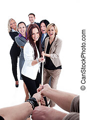 Strong business team pull the rope